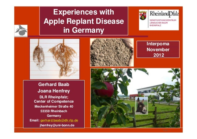 Experiences with                          Apple Replant Disease                               in Germany                  ...