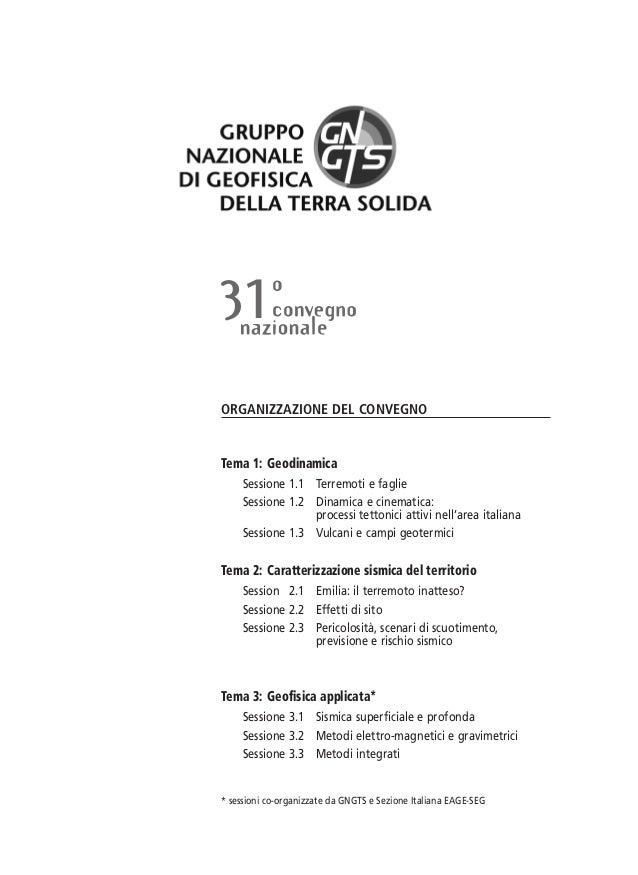 XXXI convegno del Gruppo Nazionale di Geofisica della Terra Solida Programma