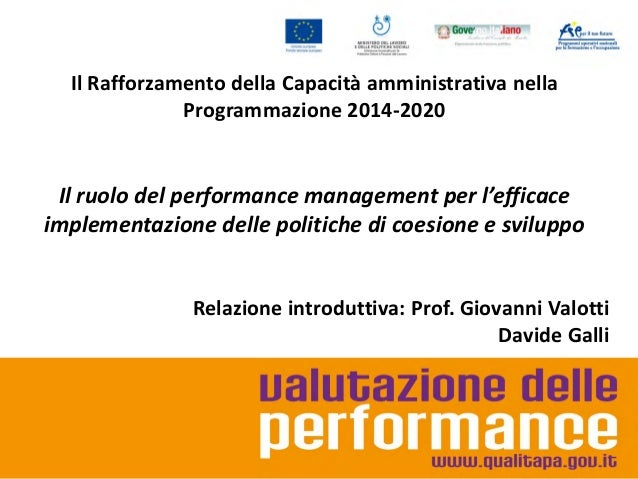 Il ruolo del performance management per l'efficace implementazione delle politiche di coesione e sviluppo