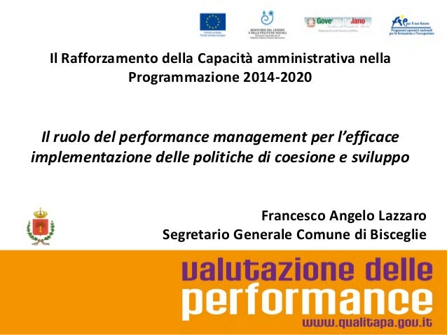 Il performance management e l'efficace implementazione delle politiche di coesione e sviluppo