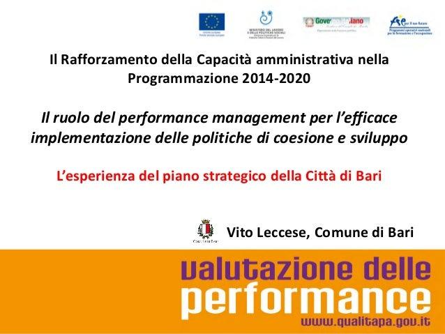 Performance management e politiche di coesione e sviluppo: L'esperienza del piano strategico della Città di Bari