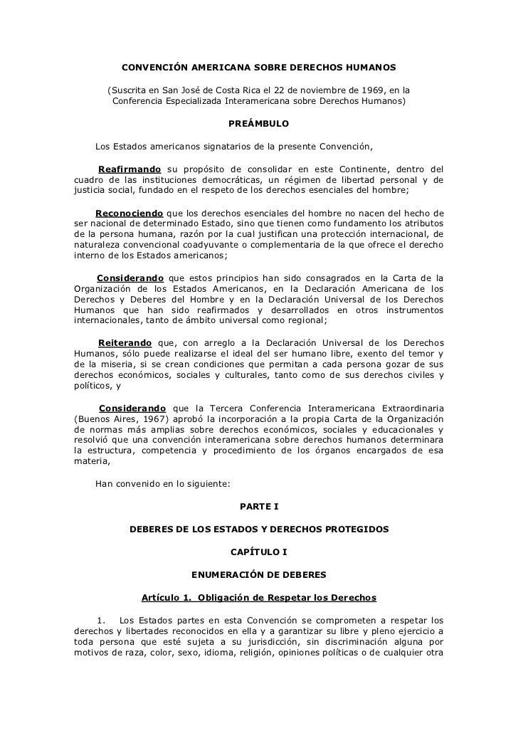 CONVENCIÓN AMERICANA SOBRE DERECHOS HUMANOS       (Suscrita en San José de Costa Rica el 22 de noviembre de 1969, en la   ...