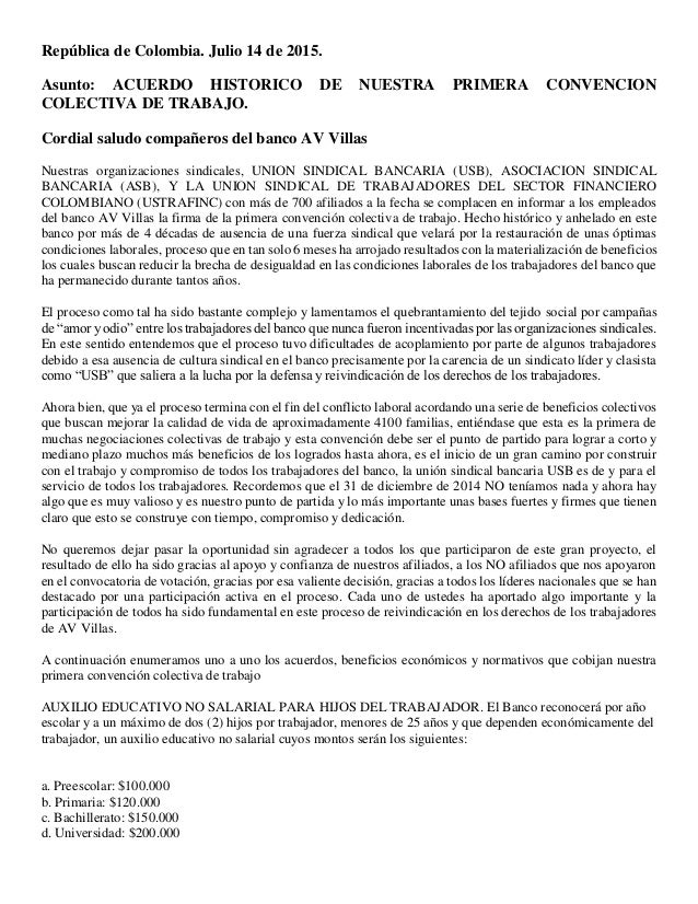 República de Colombia. Julio 14 de 2015. Asunto: ACUERDO HISTORICO DE NUESTRA PRIMERA CONVENCION COLECTIVA DE TRABAJO. Cor...