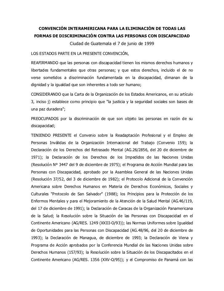 CONVENCIÓN INTERAMERICANA PARA LA ELIMINACIÓN DE TODAS LAS FORMAS DE DISCRIMINACIÓN CONTRA LAS PERSONAS CON DISCAPACIDAD