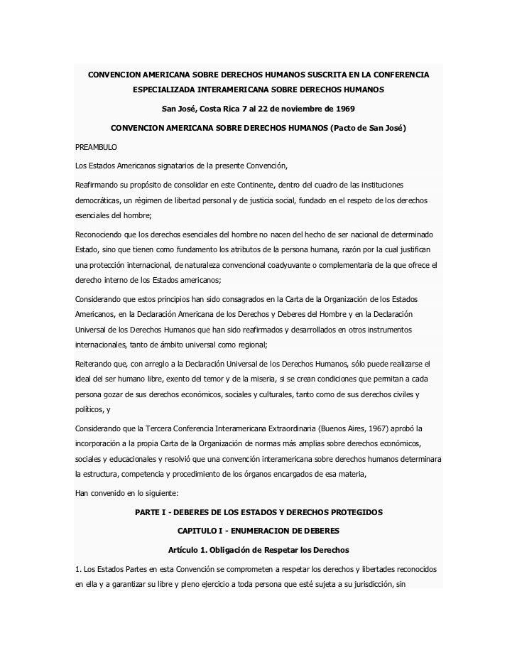 CONVENCION AMERICANA SOBRE DERECHOS HUMANOS SUSCRITA EN LA CONFERENCIA                   ESPECIALIZADA INTERAMERICANA SOBR...