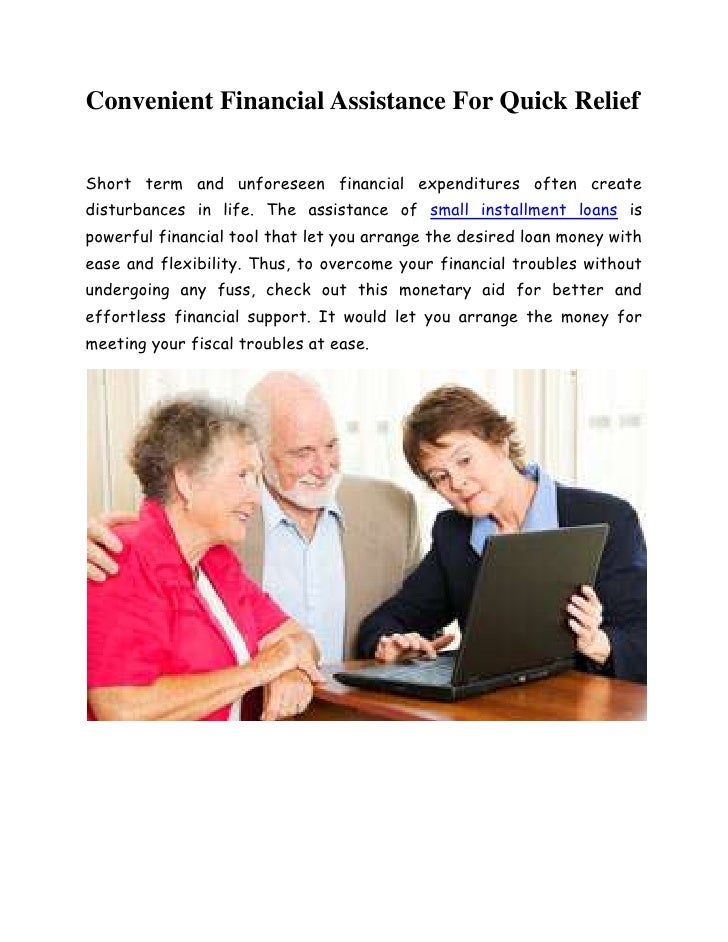 Convenient financial assistance for quick relief