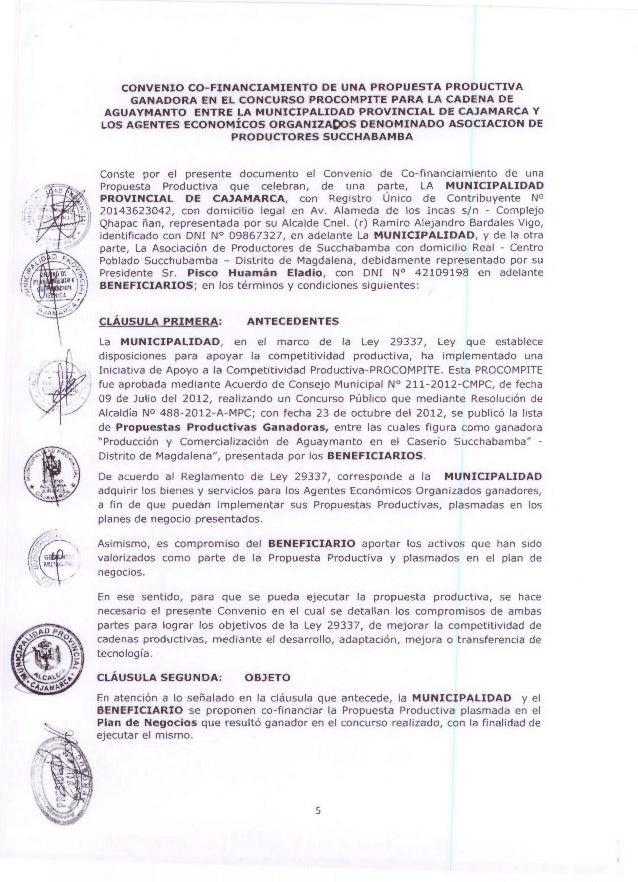 CONVENIO CO- FINANCIAMIENTO DE UNA PROPUESTA PRODUCTIVA GANADORA EN EL CONCURSO PROCOMPITE PARA LA CADENA DE AGUAYMANTO EN...