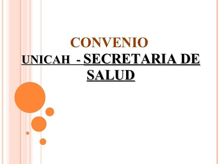 CONVENIO   UNICAH  -  SECRETARIA DE SALUD