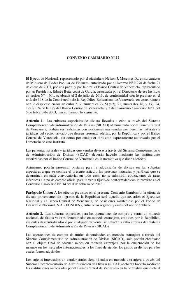 SICAD Convenio Cambiario 22 03-07-2013