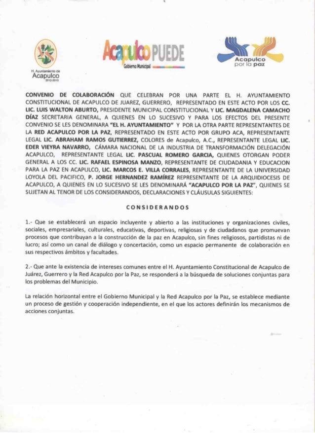 Convenio de colaboración del Acapulco por la paz con el Ayuntamiento de Acapulco - 2013