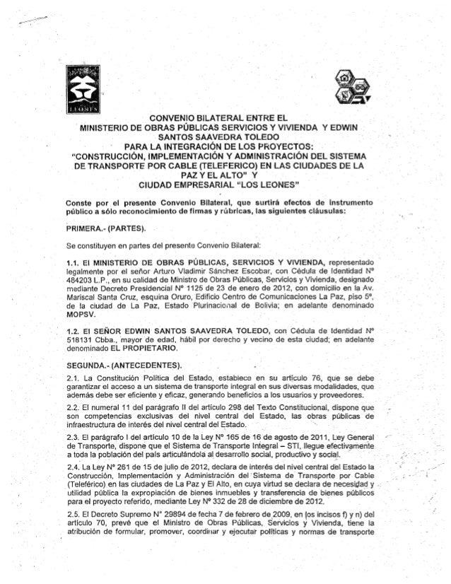 Convenio bilateral entre el ministerio de obras publicas servicios y vivienda y edwin santos saavedra toledo