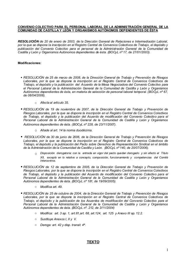 CONVENIO COLECTIVO PARA EL PERSONAL LABORAL DE LA ADMINISTRACIÓN GENERAL DE LACOMUNIDAD DE CASTILLA Y LEÓN Y ORGANISMOS AU...