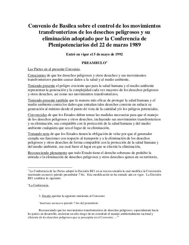 Convenio de Basilea sobre el control de los movimientos   transfronterizos de los desechos peligrosos y su     eliminación...