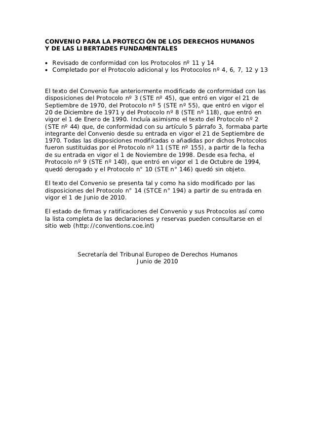 CONVENIO PARA LA PROTECCIÓN DE LOS DERECHOS HUMANOSY DE LAS LIBERTADES FUNDAMENTALES• Revisado de conformidad con los Prot...