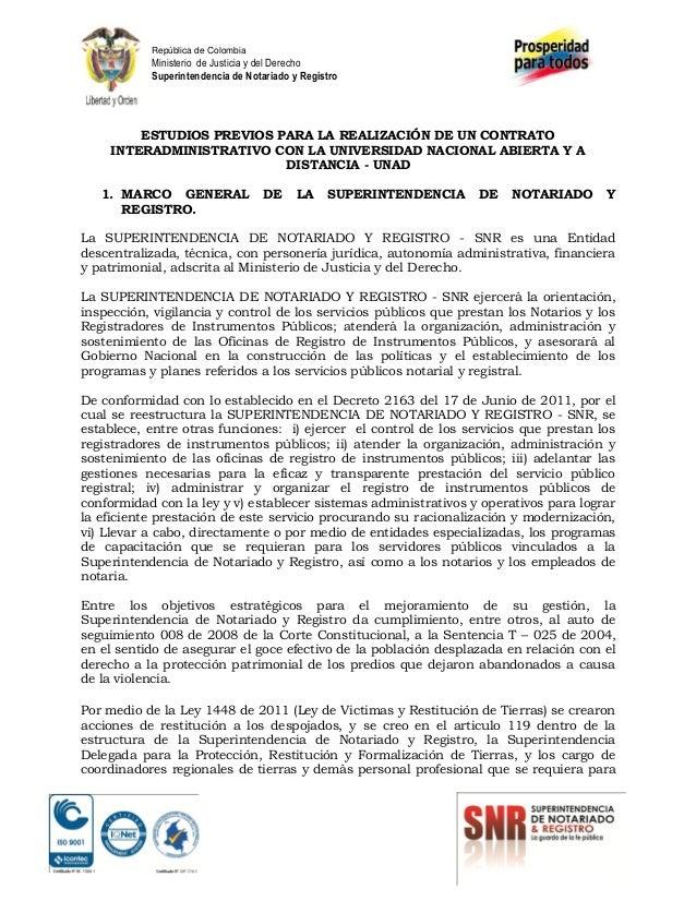 República de Colombia  Ministerio de Justicia y del Derecho Superintendencia de Notariado y Registro  ESTUDIOS PREVIOS PAR...