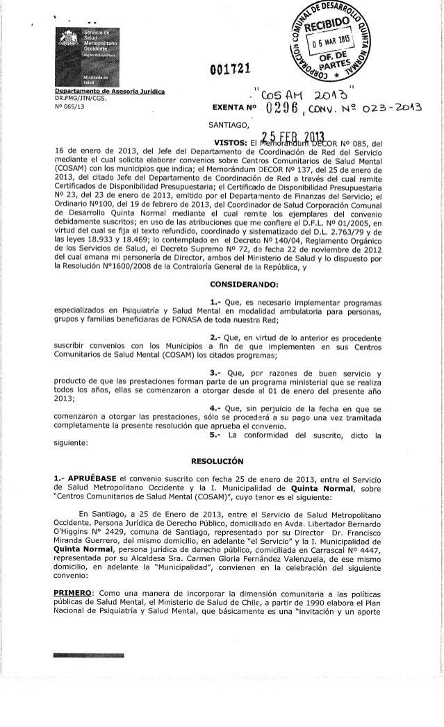 "jf . ,9•.TiDepartamento de Asesoría JurídicaDR.FMG/JTN/CGS.No 065/13001W1CoSAH :U)A""bEXENTAD Q2 9 6 , CJONV/. N^ Q23 - 2oA..."