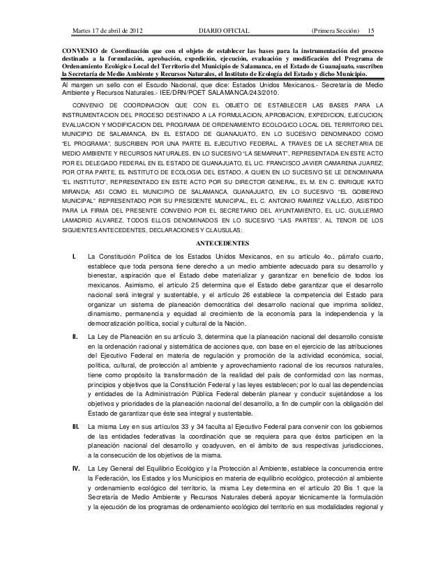 Martes 17 de abril de 2012 DIARIO OFICIAL (Primera Sección) 15 CONVENIO de Coordinación que con el objeto de establecer la...