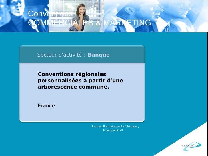 Format : Présentation 6 x 110 pages, Powerpoint  XP Secteur d'activité :  Banque Conventions régionales personnalisées à p...