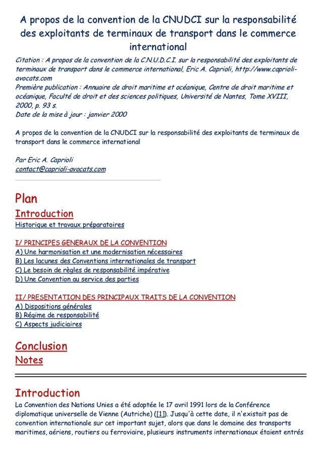 Convention   cnudci - responsabilité des exploitants de terminaux