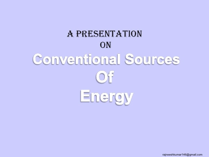 Conventional energy sources