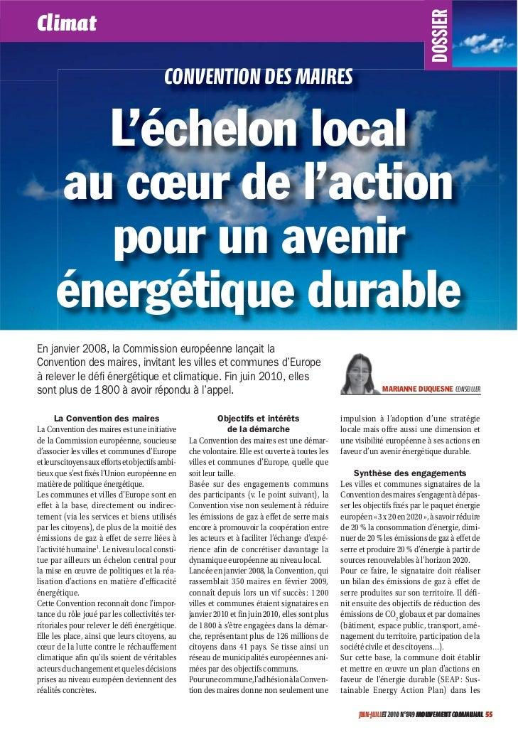 DOSSIERClimat                                           CONVENTION DES MAIRES        L'échelon local      au cœur de l'act...