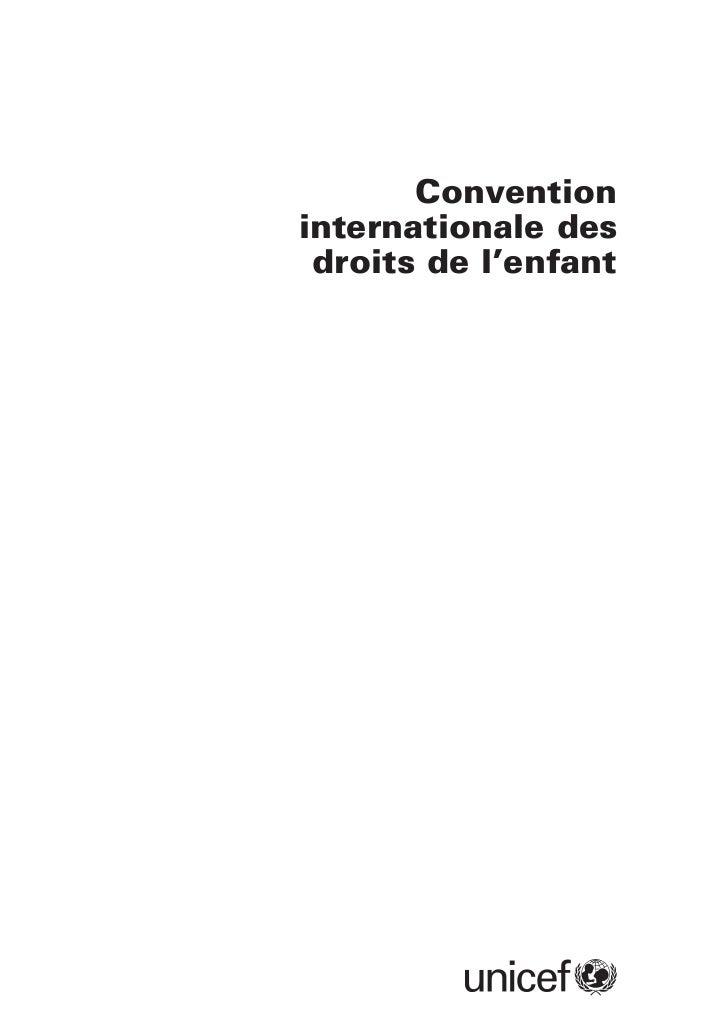Convention internationale du droit de l'enfant unicef texte intégral