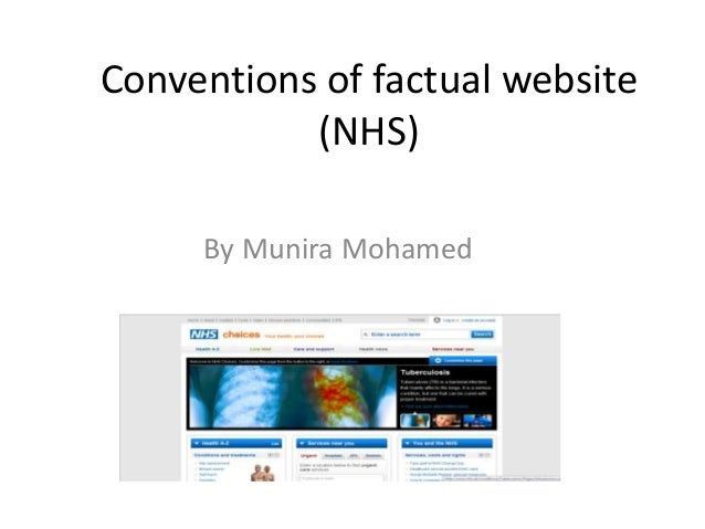 Conventions of factual website (NHS) By Munira Mohamed