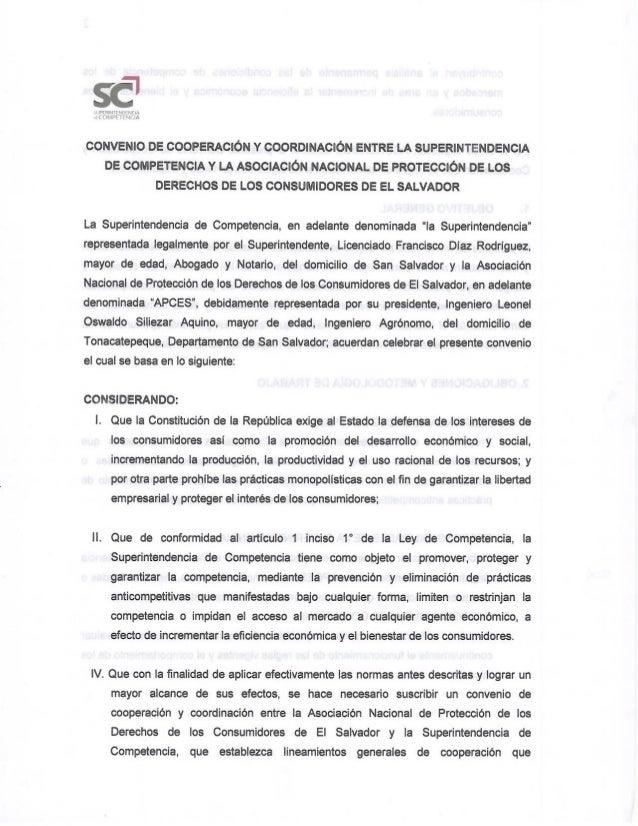 Convenio de Cooperación y Coordinación entre la APCES y la SC