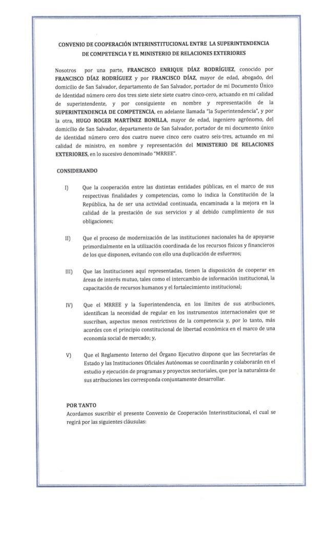 Convenio de Cooperación Interinstitucional entre la SC y RREE