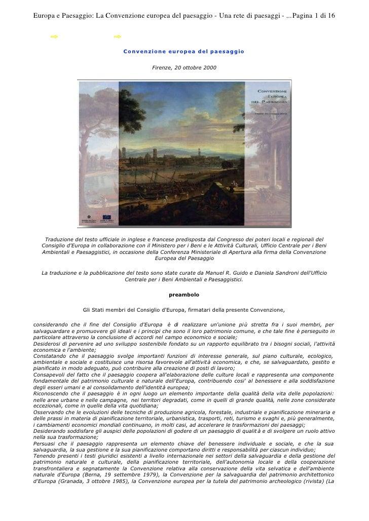 Europa e Paesaggio: La Convenzione europea del paesaggio - Una rete di paesaggi - ... Pagina 1 di 16                      ...