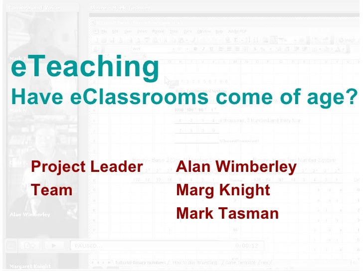 eTeaching Have eClassrooms come of age? Project Leader  Alan Wimberley Team  Marg Knight Mark Tasman