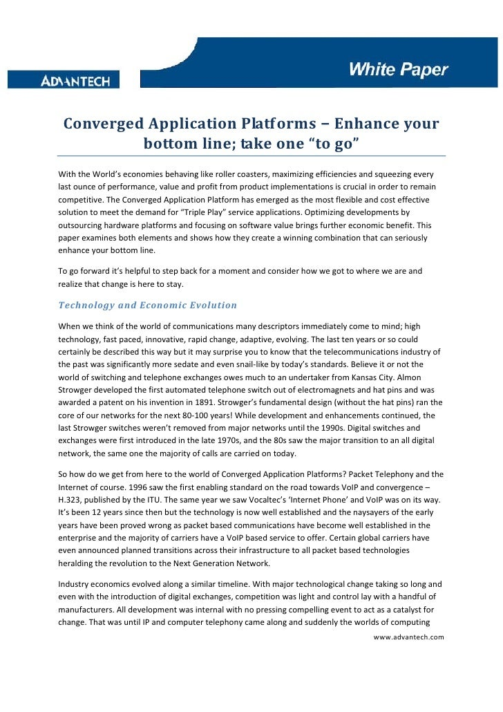 "Converged Application Platforms – Enhance your            bottom line; take one ""to go""  With the World's economies behavi..."