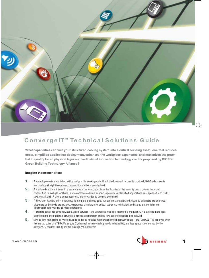 ConvergeIT™ Technical Solutions Guide       What capabilities can turn your structured cabling system into a critical buil...