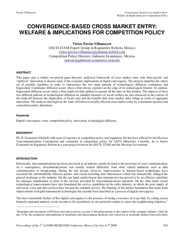 Convergence based cross market entry welfare & implications for competition policy - víctor pavón-villamayor (2009)