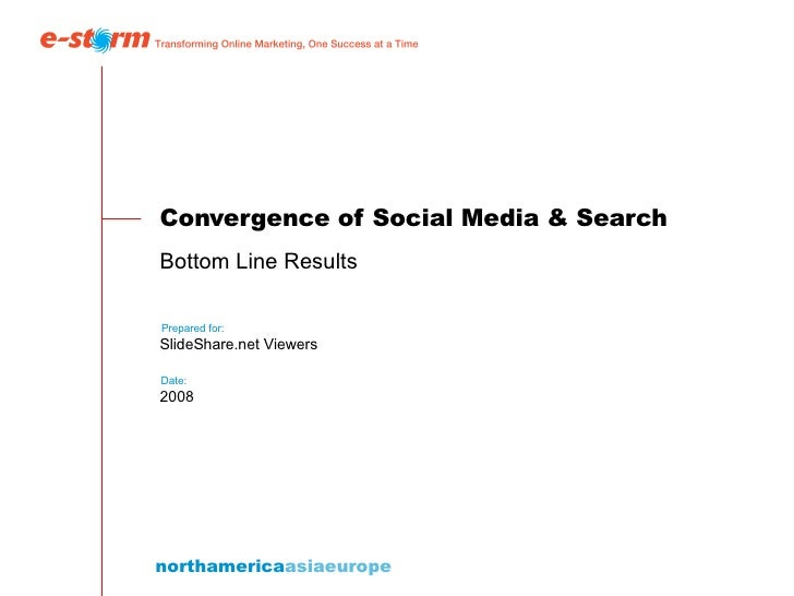 Convergence of Social Media & Search Bottom Line Results  SlideShare.net Viewers 2008