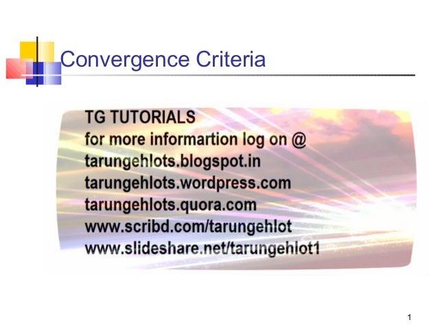 Convergence Criteria