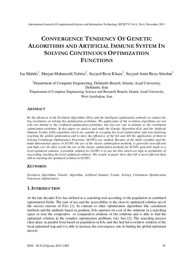 Convergence tendency of genetic algorithms and artificial immune system in solving continuous optimization functions