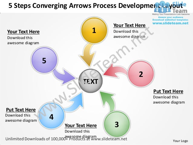 Converging arrows process development layout circular flow power point templates