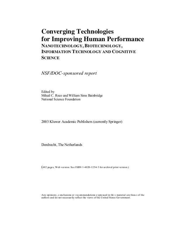 Converging technologies  for improving human performance