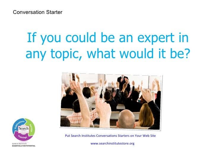 Search Institute Conversation Starters