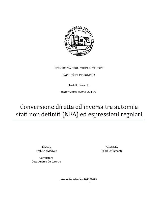 UNIVERSITÀ DEGLI STUDI DI TRIESTE FACOLTÀ DI INGEGNERIA Tesi di Laurea in INGEGNERIA INFORMATICA  Conversione diretta ed i...