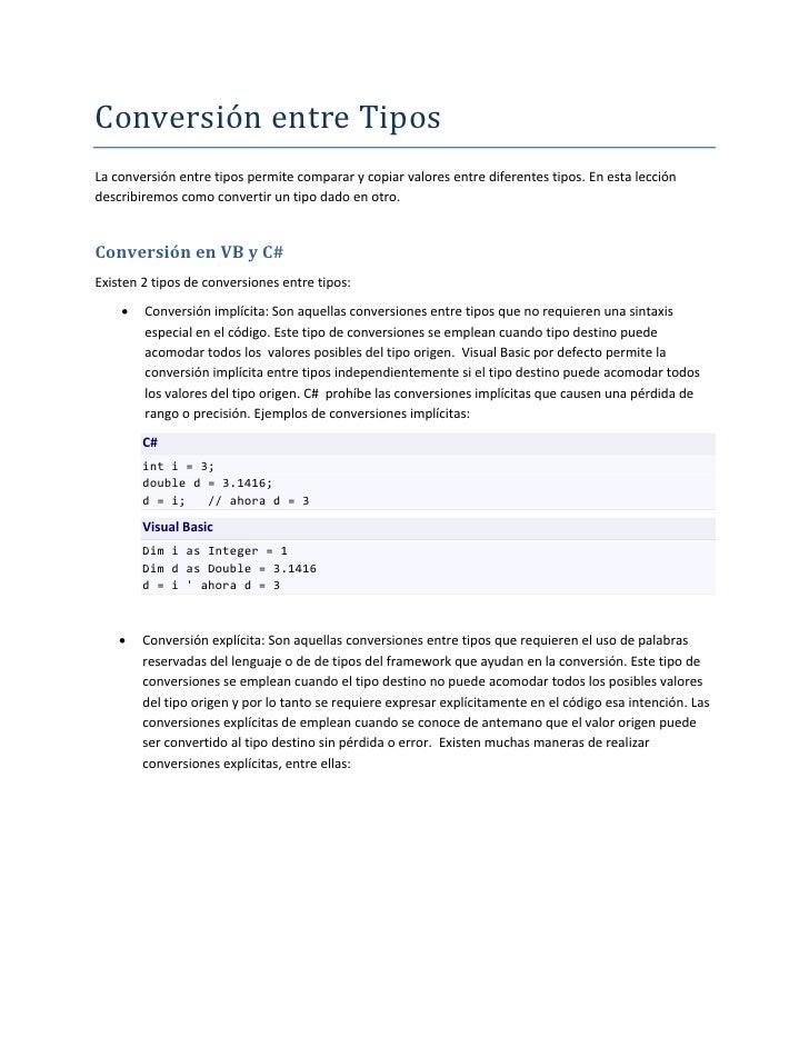 Conversion Entre Tipos   Leccion 4