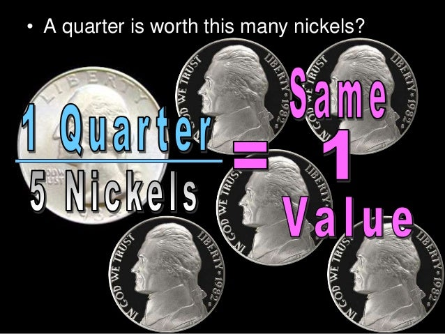 • A quarter is worth this many nickels?