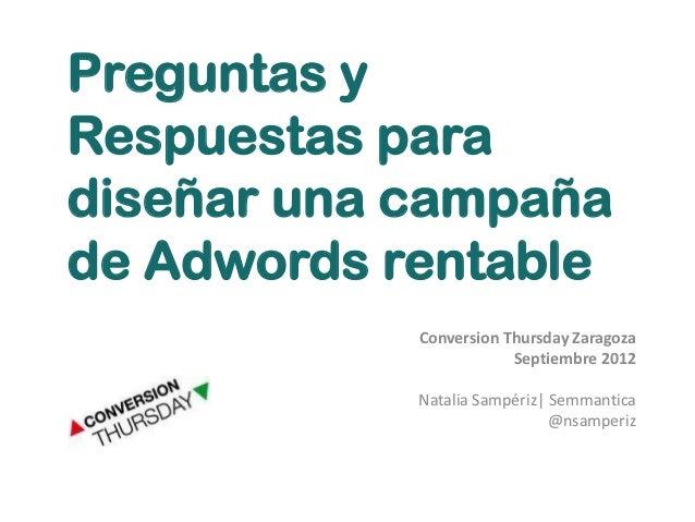 Optimización Google Adwords | Conversion Thursday | Natalia Sampériz