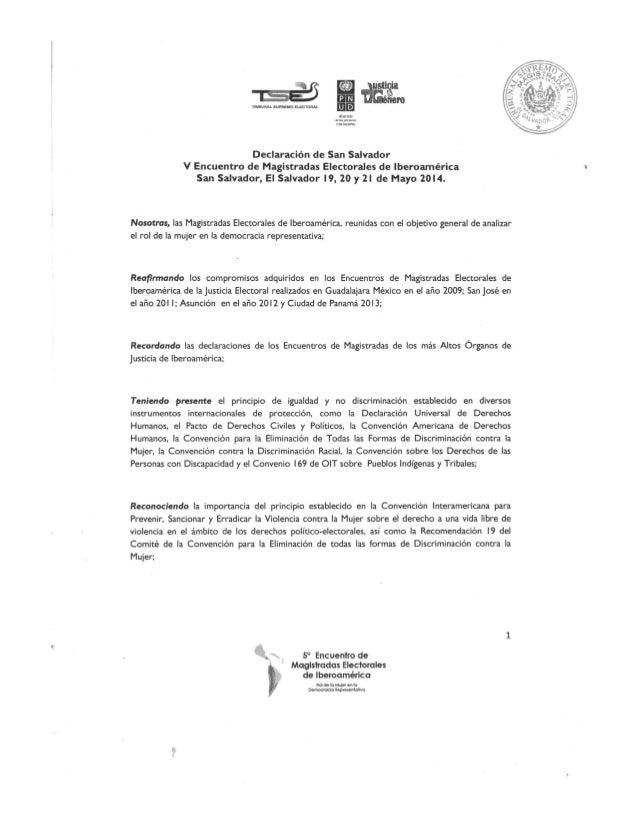 Declaratoria San Salvador - V Ecuentro de Magistradas electorales de Iberoamérica San Salvador