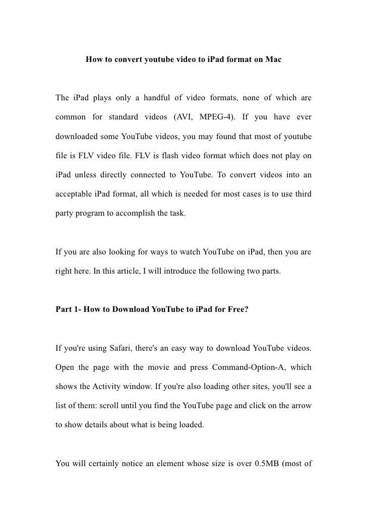 Convert youtube-video-to-ipad-on-mac