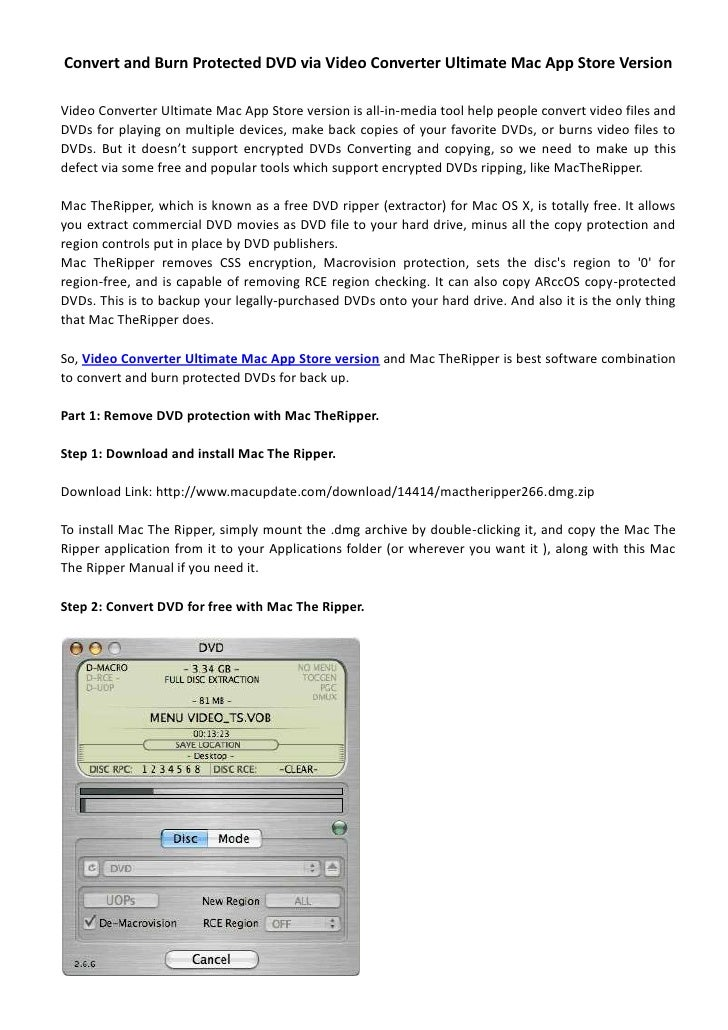Convert and burn protected dvd via video converter ultimate mac app store version