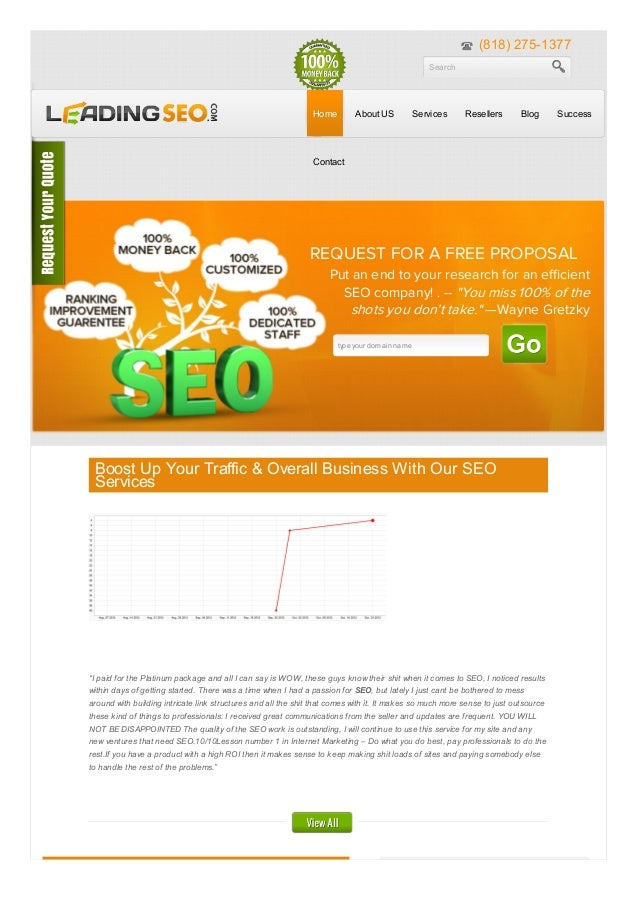 (818) 275-1377 Search  Home  About US  Services  Resellers  Blog  Success  Contact  REQUEST FOR A FREE PROPOSAL Put an end...
