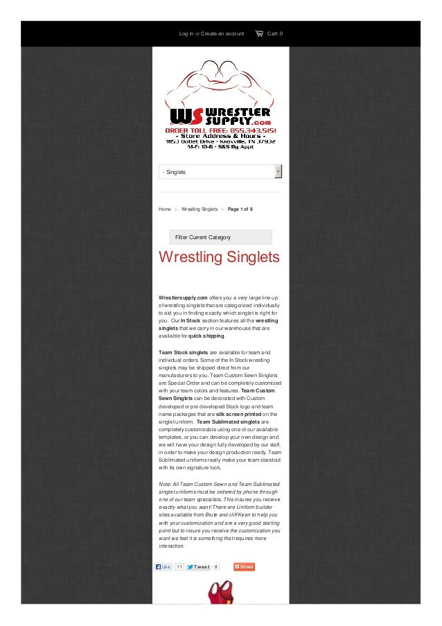 Log in or Create an account  Cart: 0  - Singlets  Home  Wrestling Singlets  Page 1 of 8  Filter Current Category  Wrestlin...