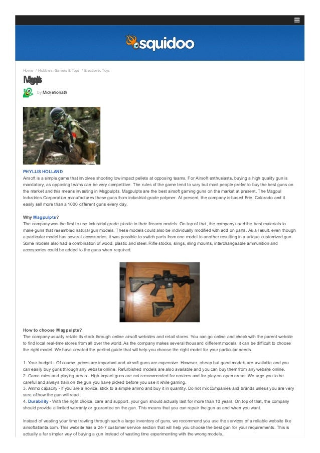 Home / Hobbies, Games & Toys / Electronic Toys  Mgu apls p t by Micketionath  PHYLLIS HOLLAND Airsoft is a simple game tha...